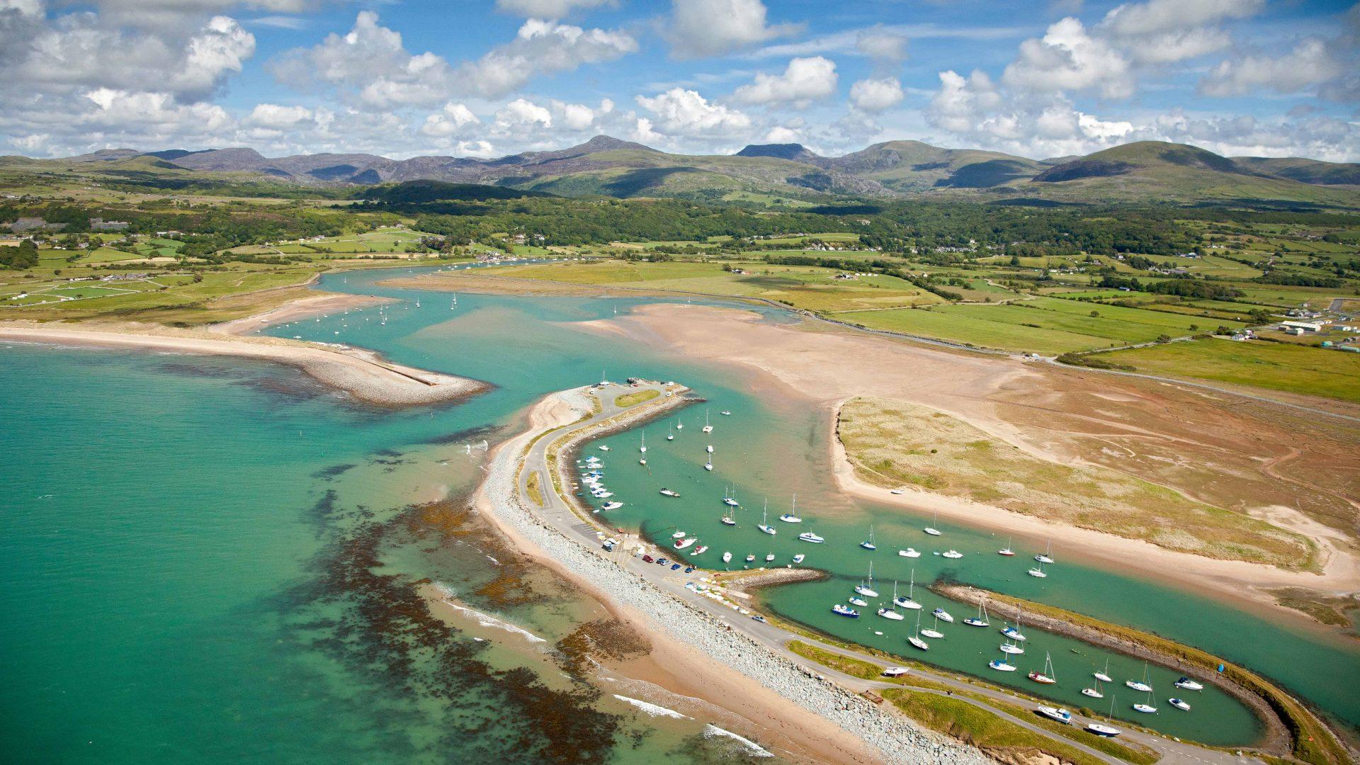 Aerial view of Shell Island Mochras Gwynedd Mid Coastal Scenery